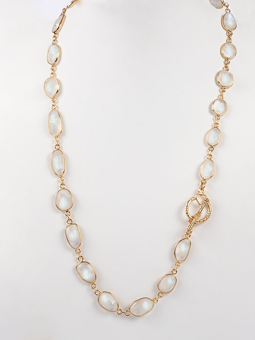 Rainbow Moonstone Gold Necklace