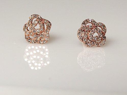 Gold Diamond Rose Stud Earrings