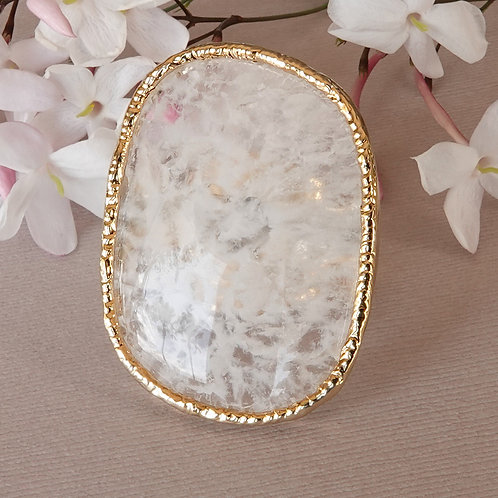 White Lace Crystal Gold Ring Adjustable One of Kind