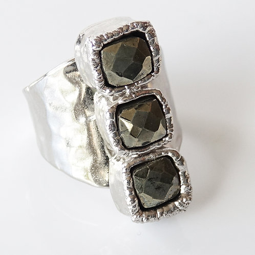 Silver Pyrite Ring