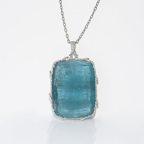Magnificent Aquamarine & Diamond Pendant in White Gold
