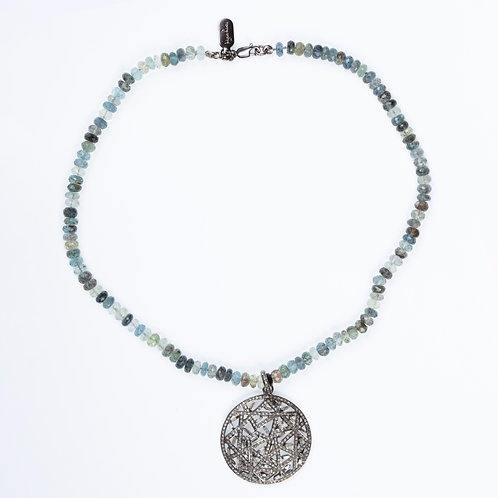 Sapphire Diamond Disk Necklace