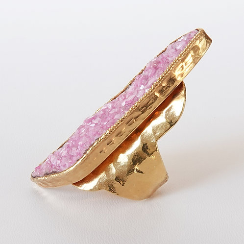 Pink Drusy Gold Ring  Druzy Natural Statement Ring
