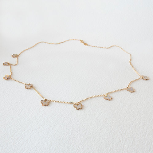 Mother of Pearl Butterfly Chain Necklace