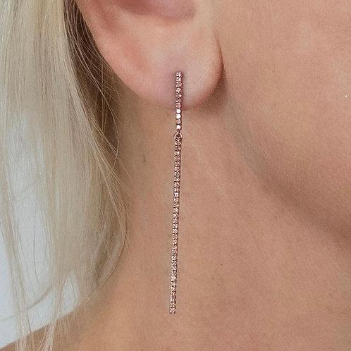 Diamond  Double Bar Earrings 14K Rose Gold Post