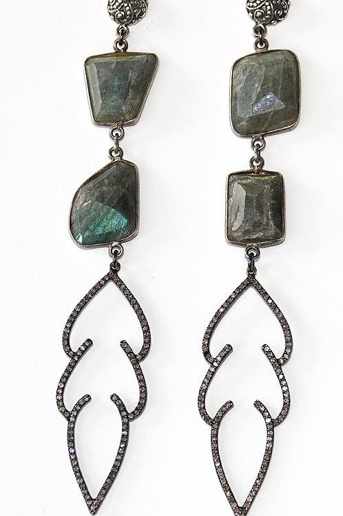 Sterling Silver Labradorite Diamond Duster Earrings
