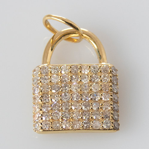 14K Gold Pave Diamond Lock Charm