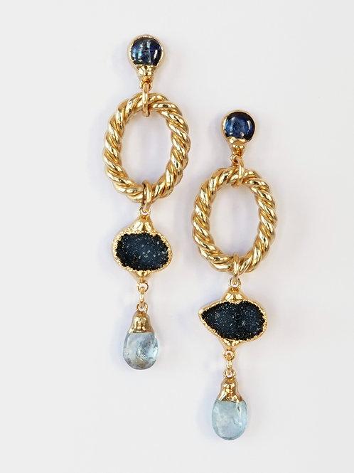 Gold Multi Gemstone Drop Post Earrings