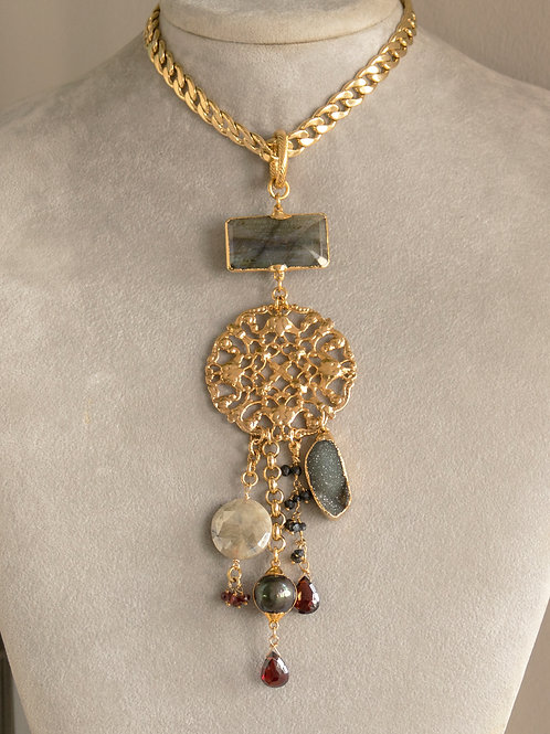 Gold Disk Gemstone Chain Necklace