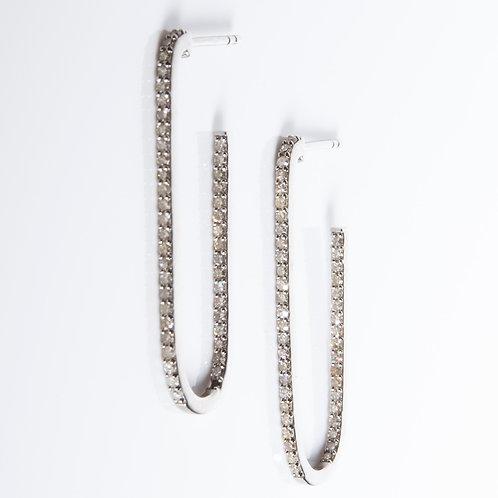 Diamond Sterling Paperclip Earrings