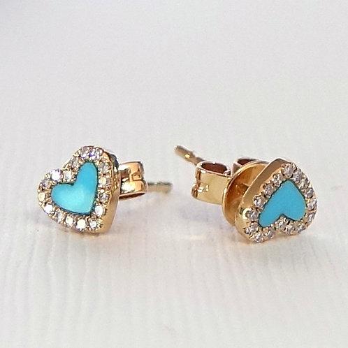 14K Turquoise Diamond Heart Stud Earrings