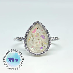 Opal fleck hand place with cremation ash