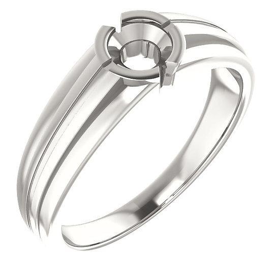 Ridged Round Mens Ring