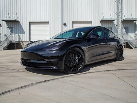Lowered Tesla Model 3 on AG Wheels