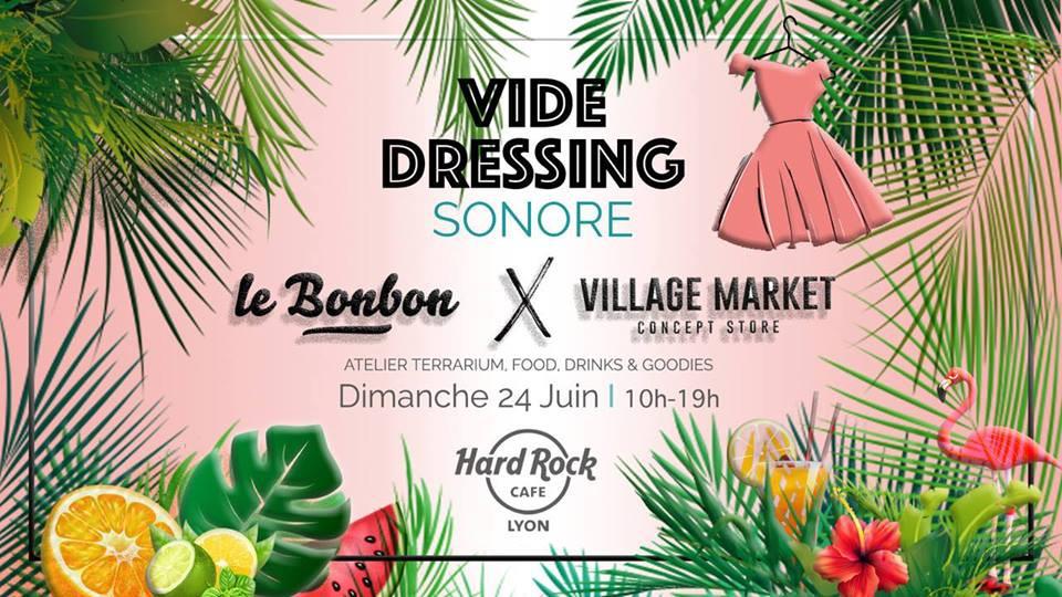 Affiche du vide dressing sonore organisé par le. bonbon lyon et village market