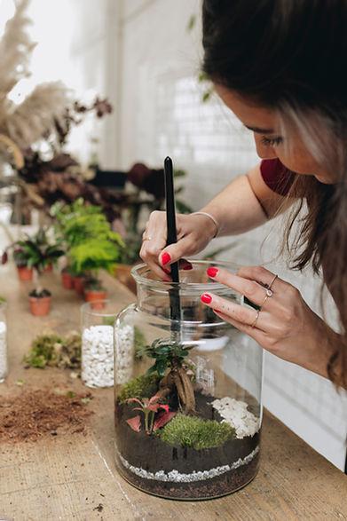 Création d'un terrarium lors d'un atelier DIY à Lyon, Rhône Alpes, France chez Onno jardins intérieurs à Lyon