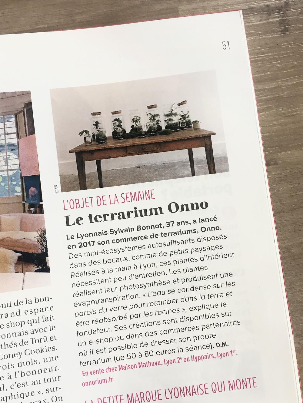 Article Tribune de Lyon sur les terrariums Onno en tant qu'objet de décoration de la semaine
