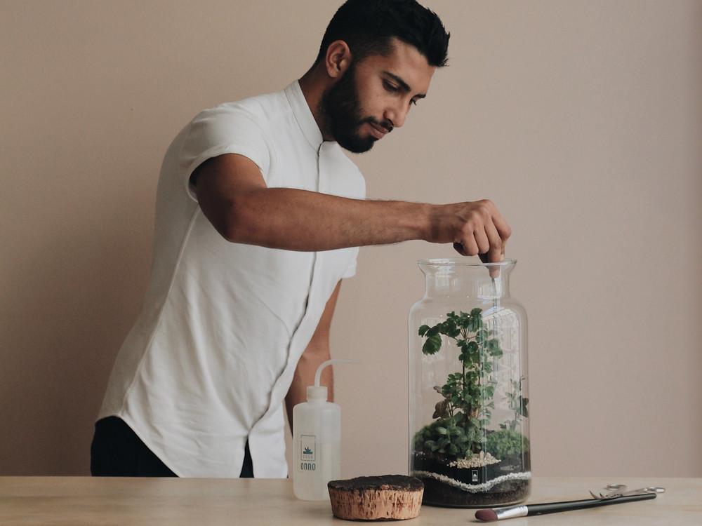 Entretien d'un terrarium par Lévent, co-gérant de la boutique Onno à Lyon, Rhône Alpes, France