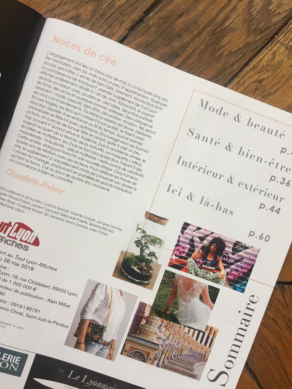 Sommaire du supplément Marquant du Tout Lyon Affiches avec un article sur les terrariums Onno