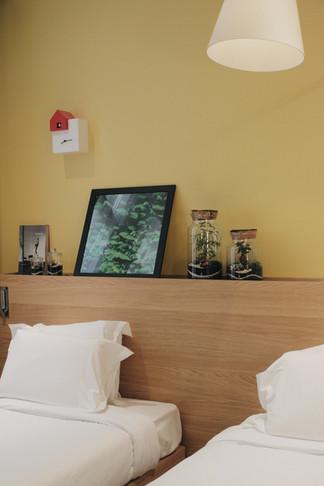 Terrariums installés dans une chambre d'hôtel