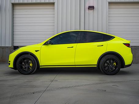 Fluorescent Yellow Tesla Model Y