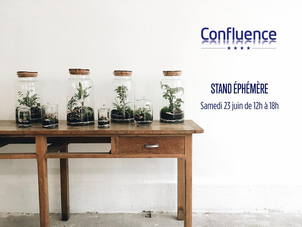 Table avec terrariums Onno au centre commercial Confluence samedi 23 juin de 12h à 18h