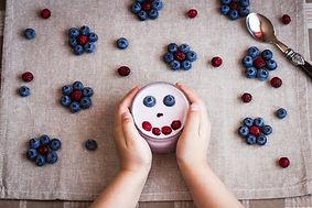 Healthy breakfast of yogurt and berries.