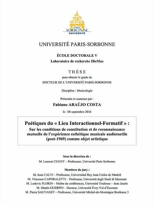 "Tese de Doutorado ""Poétiques du 'lieu interactionnel-formatif'"""""