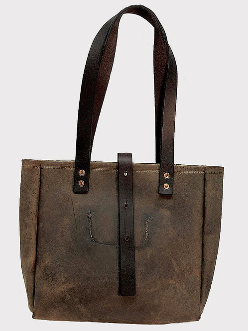 """Reata"" Crazy Horse Cowhide Tote with Pitch Fork Brand"