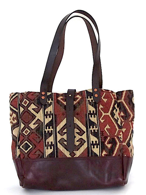 """Tapestry"" Tote with Horween Leather Base and Waxed Canvas Lining"