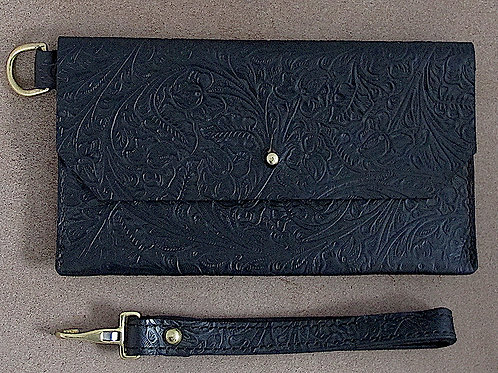 Leather Clutch with Wrist Strap