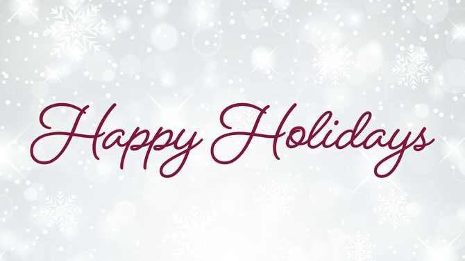 Happy Holidays to our customers, vendors, distributors, and partners!