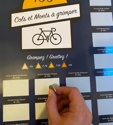L'incontournable poster pour cyclistes 100 COLS À GRATTER