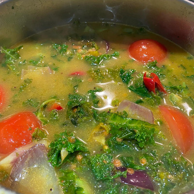 Kale and coconut dhal