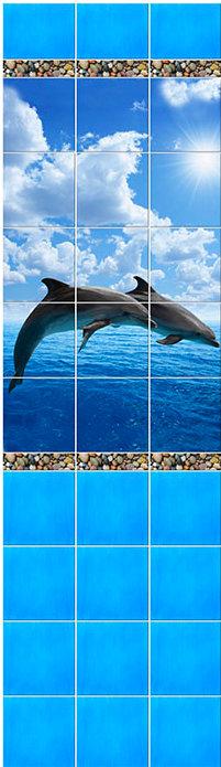 Дельфины голубые 3D СП