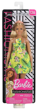 Mattel Barbie Doll - Curvy Yellow Floral Dress Brown Hair Doll (FXL59)