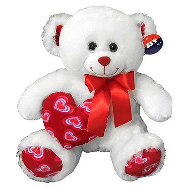 Αρκουδάκι με φιόγκο & κόκκινη καρδιά - 30cm
