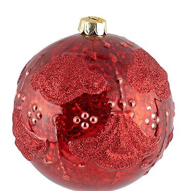 Χριστουγεννιάτικη Γυάλινη Μπάλα ανάγλυφη 8 εκ