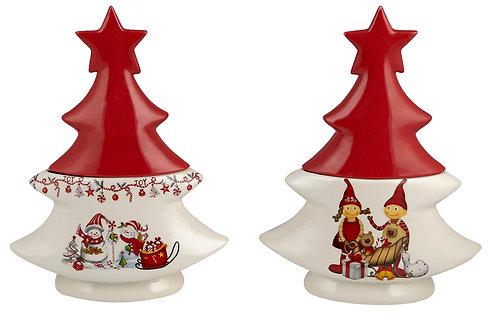Χριστουγεννιάτικη  Κεραμική μπισκοτιέρα  Δέντρο . 22Χ10Χ30 εκ
