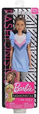 Mattel Barbie Doll  Blue Dress Brunette Hair Doll with Prosthetic Leg (FXL54)