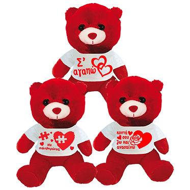 Αρκουδάκι με μήνυμα αγάπης στο μπλουζάκι 23cm
