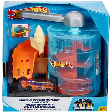 Hot Wheels City VS Robo Beasts - Downtown Ice Cream Meltdown Playset (GPD08)
