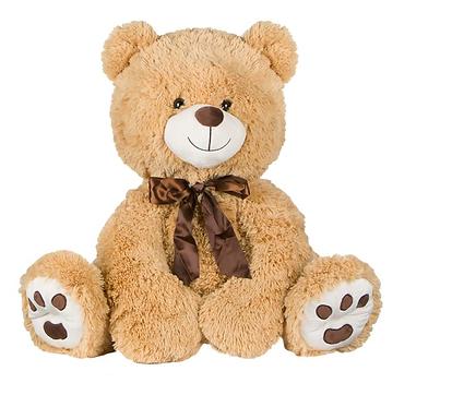 Αρκούδα Λούτρινη Κρεμ Κασκόλ 60 cm