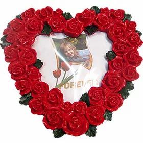 Κορνίζα ακρυλική καρδιά με τριαντάφυλλα