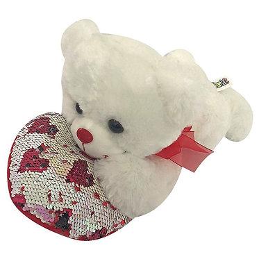 Αρκουδάκι λευκό με καρδιά από πούλιες - 35cm