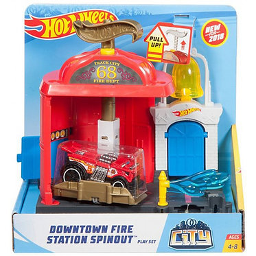 Hot Wheels City - Downtown Fire Station Spinout Play Set (FRH29)