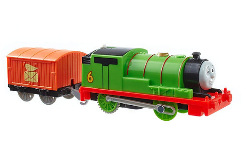 FISHER PRICE TRACKMASTER MOTORIZED RAILWAY TRAIN WITH WAGON-PERCY