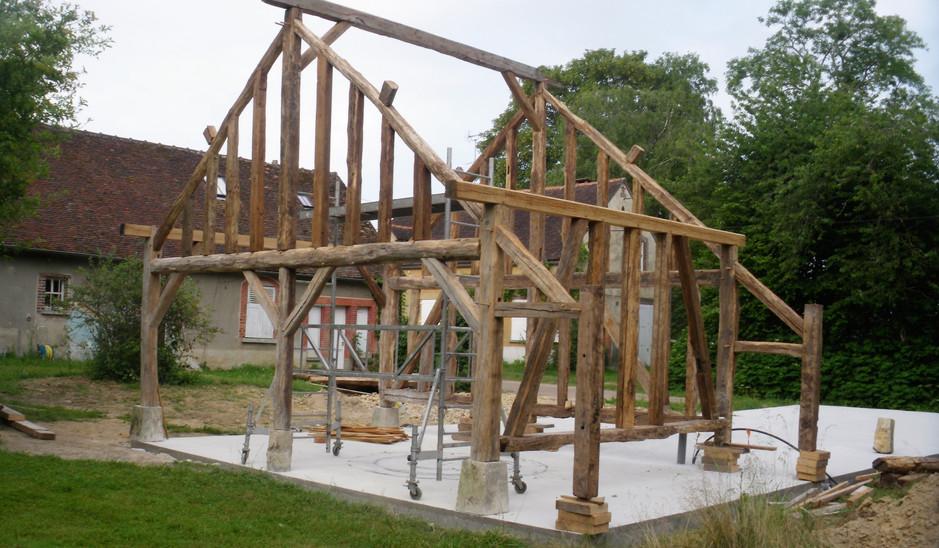 Construction ossature bois en colombages de récupération