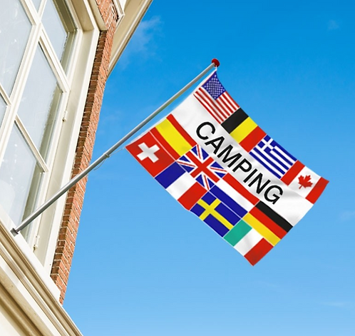 Camping flernasjonersflagg med 12 nasjoners