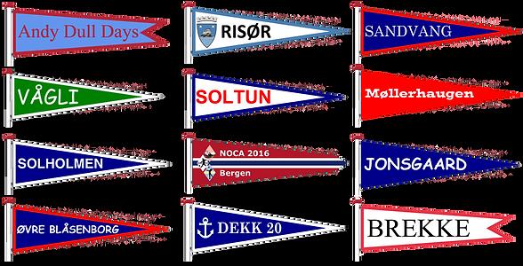 navnvimpler i forskjellige størrelser, farger og tekster. vimpel, vimpler, vimpelene